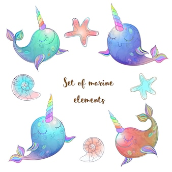 Set of fabulous whales unicorns.
