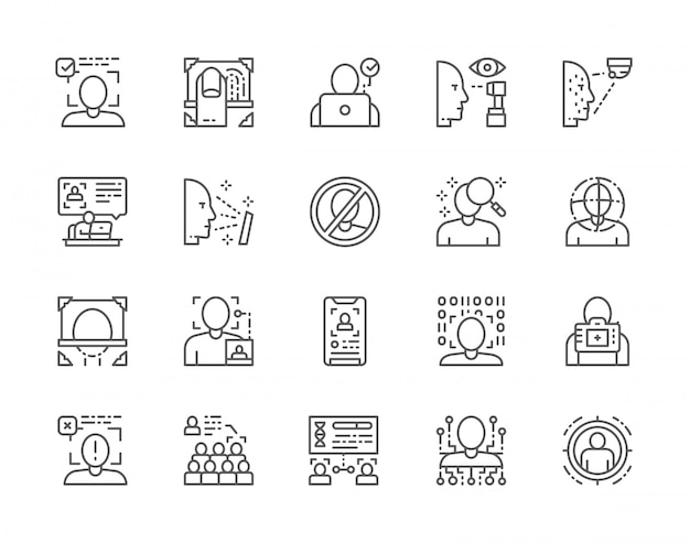 Set of face detection line icons.