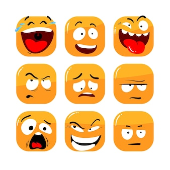 Set of face expression icons
