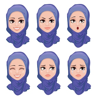 Set of face expressions of arabic woman