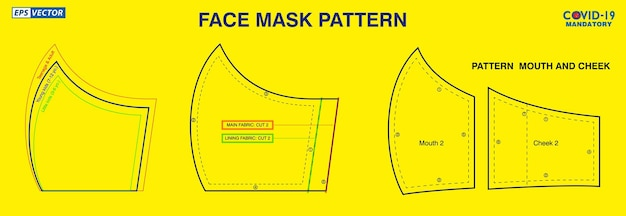 Set of face mask industrial pattern design or pattern for create a medical mask