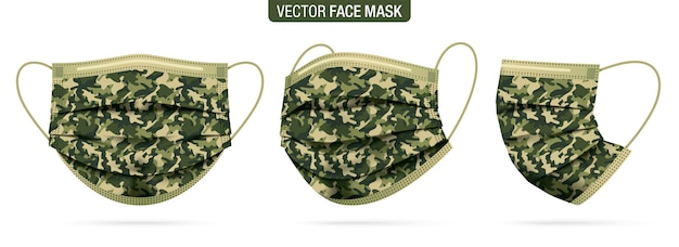 Set of face masks from different viewing angles, with army camouflage pattern.