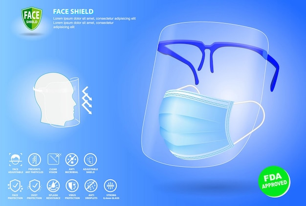 Set of face shield medical protection or portable face shield waterproof or personal protective