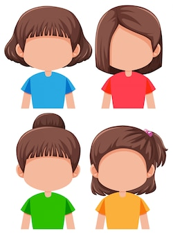 Set of faceless hairstyle