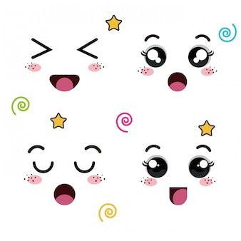 Set of faces of emoticon