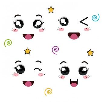 Set of faces of emoticon