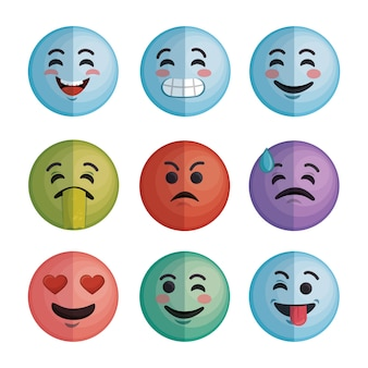 Set faces emoticons characters icons