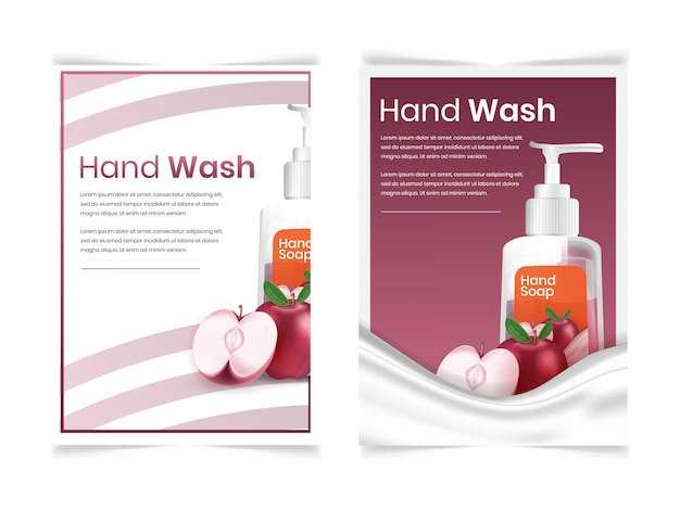 Set of facial and body wash with fruit apple aroma