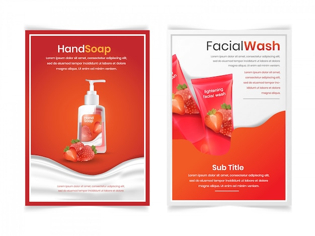 Set of facial and body wash with strawberry aroma