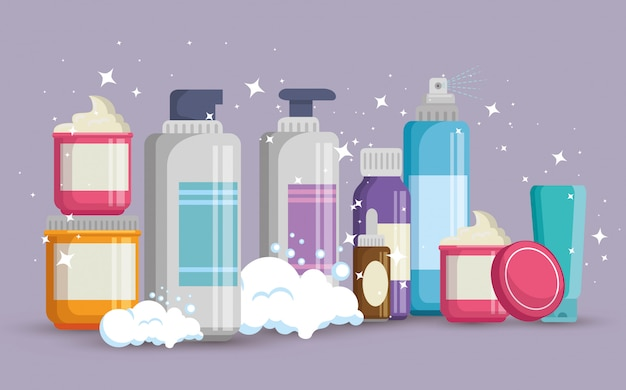 Set of facial creams products