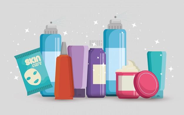 Set of facial creams products Free Vector