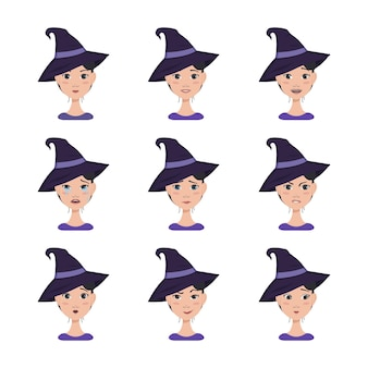 Set of facial expressions of an asian woman with dark hair in a pointed witch hat different female e...