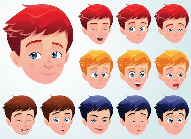 Set of facial expressions for a cute boy