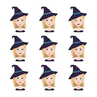Set of facial expressions of a woman with blonde hair and blue eyes wearing a pointed witch hat diff...