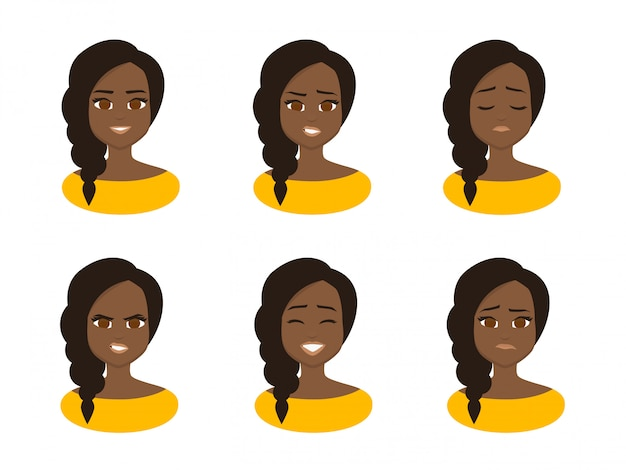 Set facial expressions of young african business woman wearing yellow costume.
