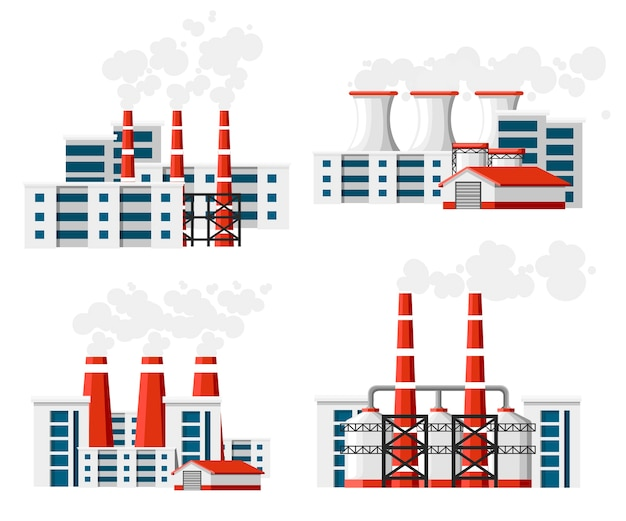 Set of factories with smoke pipes. environmental pollution problem. earth factory pollute with carbon gas.  illustration.  illustration  on white background.