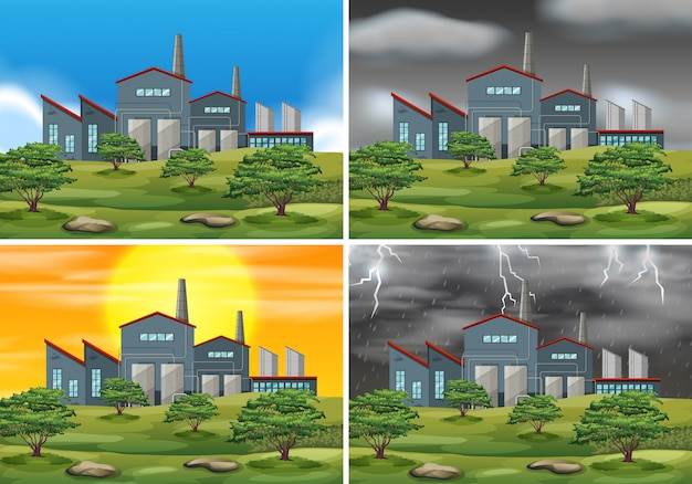 Set of factory scenes in different weather