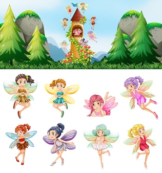 Set of fairies in nature