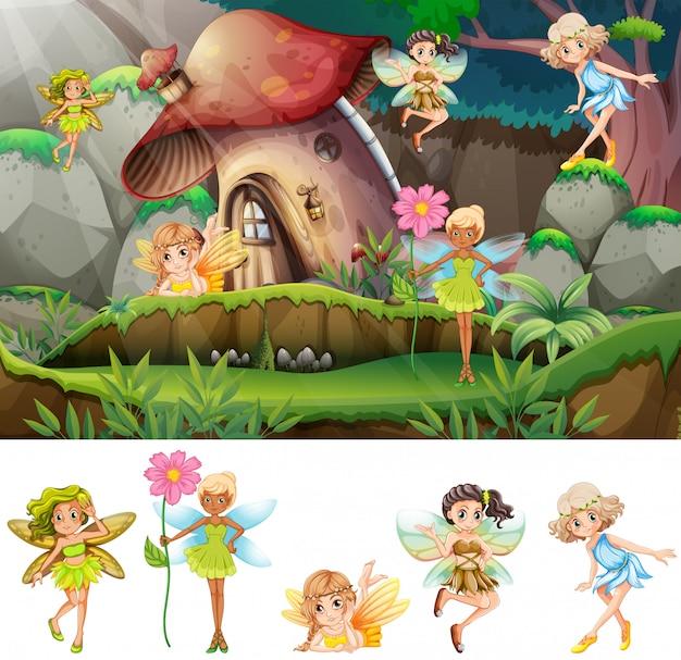 Set of fairies in scene illustration