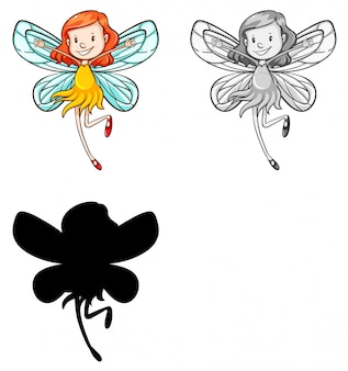 Set of fairy character