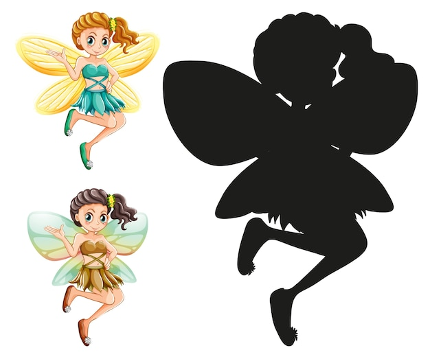 Set of fairy characters and its silhouette on white background
