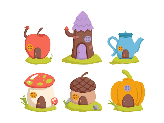 Set of fairy house fantasy design