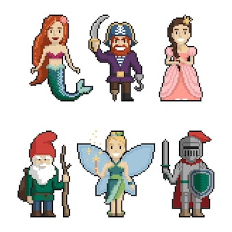 Set of fairy-tale characters pixel art on white background