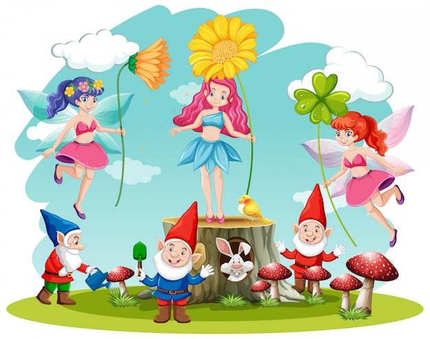 Set of fairy tale and gnome fantasy cartoon character  on white background