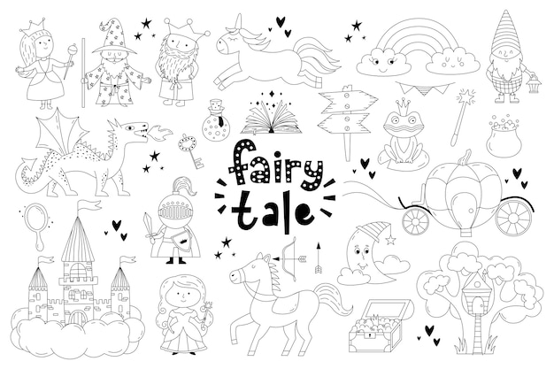 Set of fairy tale objects collection.