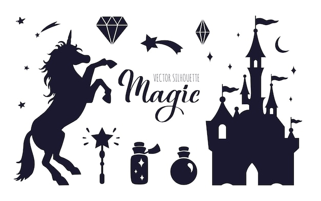 Set of fairy tale silhouette with unicorn and castle