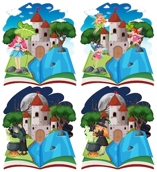 Set of fairy tales and castle tower on pop up book cartoon style on white background
