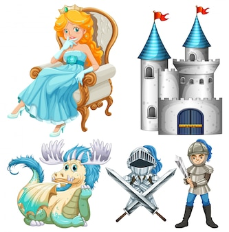 Set of fairy tales with knight and castle
