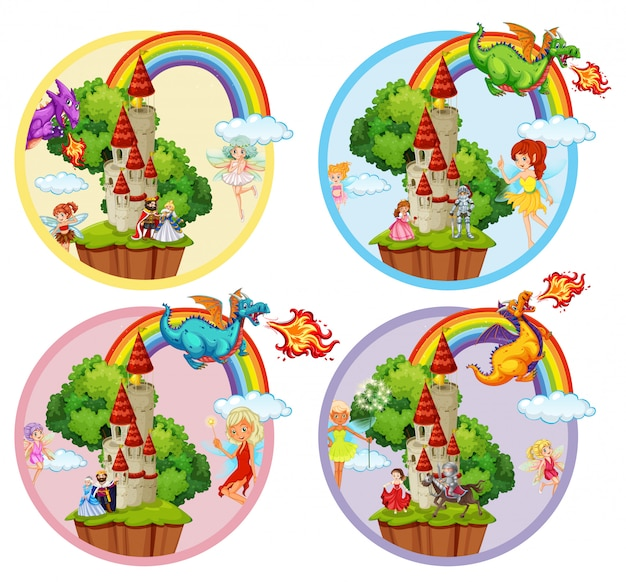 Set of fairytale badge