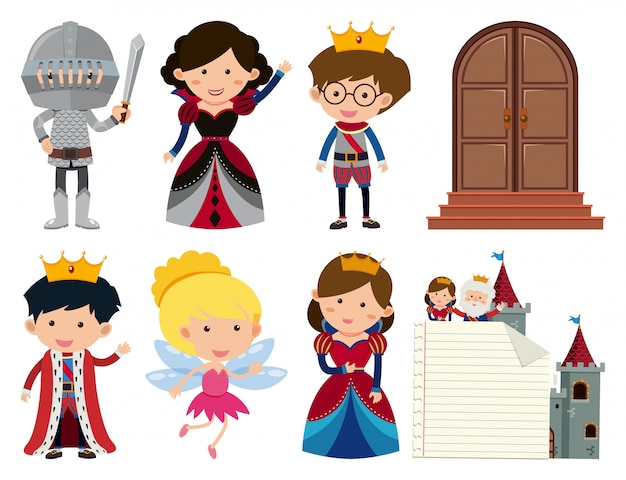 Set of fairytales elements isolated