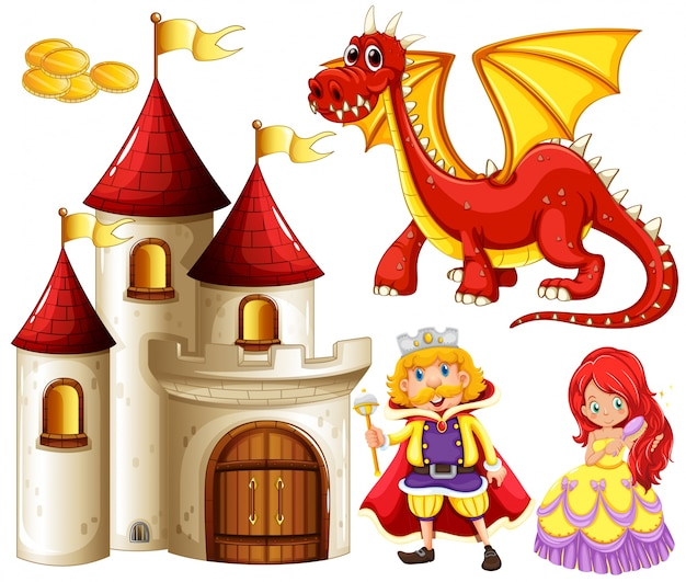 Set of fairytales with dragon and castle
