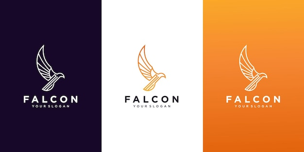 Set of falcon logo design template