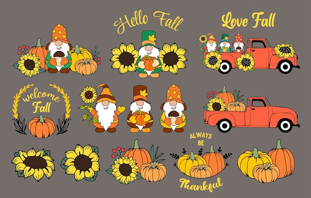 Set of fall elements autumn gnomes pumpkins and sunflowers thanksgiving