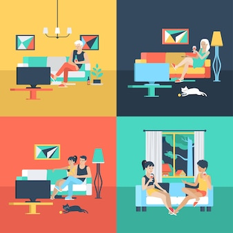 Set of family couple alone solitude female friendship in living room watch tv. flat people lifestyle situation relax leisure time concept.  illustration collection of young creative humans.