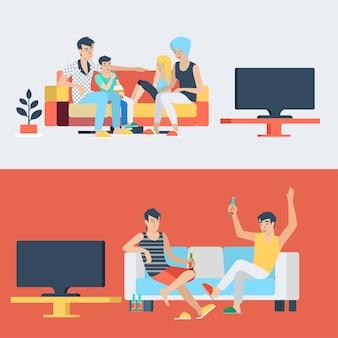 Набор семейной пары детей детей в гостиной родителей смотреть телевизор. друзья пьют пиво. плоские люди образ жизни ситуация семейная дружба досуг концепция. коллекция молодых творческих людей.
