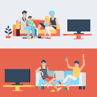 Set family couple kids children in living room parenting watch tv. friends drink beer. flat people lifestyle situation family friendship leisure time concept. young creative human collection.