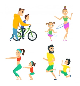 Set of family couples in fitness activities