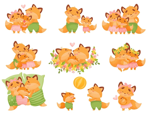 Set of a family of cute cartoon foxes