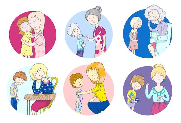 A set of family scenes. mothers day. families. child psychology.