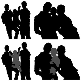 Set of family silhouettes