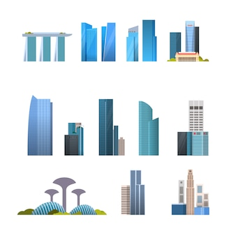 Set of famous singapore buildings isolated singaporean travel destinations