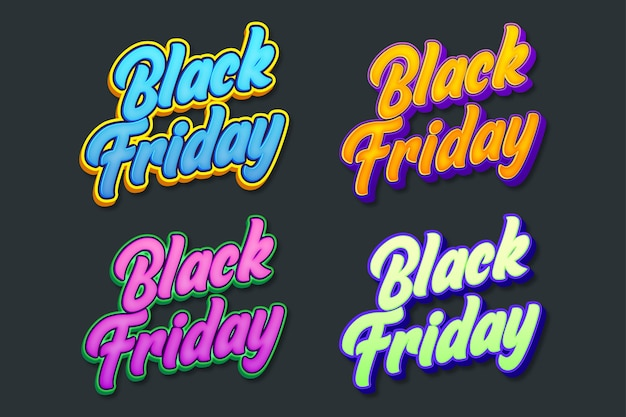 Set of fancy black friday sticker