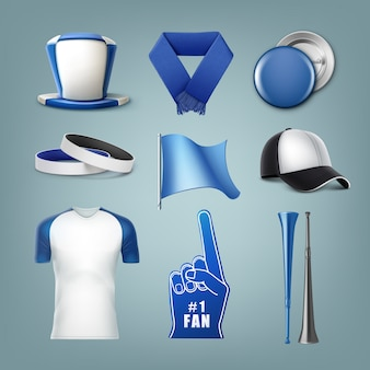 Set of fans accessories in white and blue colors