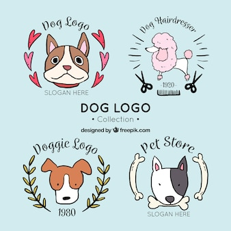 Set of fantastic dog logos in hand-drawn style