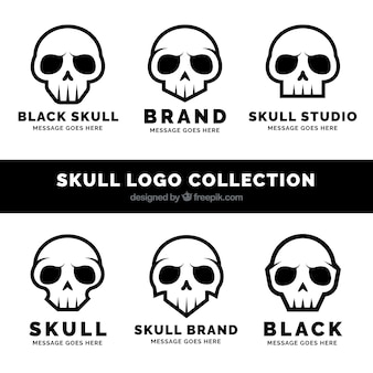 Set of fantastic logos with black skulls