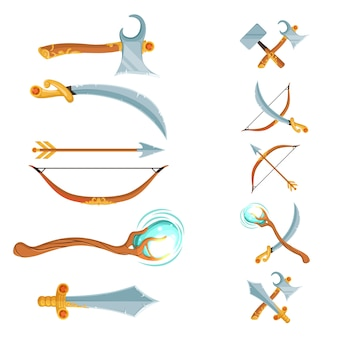 Set of fantasy cartoon game design crossed and in the row swords, axes, staffs and bow weapon isolated on white